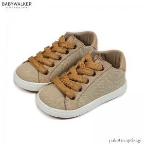 Μπεζ Υφασμάτινα Δετά Sneakers Babywalker BW4208