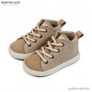 Μπεζ Υφασμάτινα Δετά Ημίμποτα Sneakers Babywalker BW4211