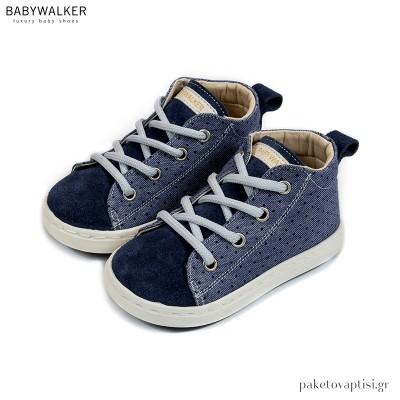Μπλε Υφασμάτινα Δετά Ημίμποτα Sneakers Babywalker BW4211