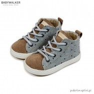 Γκρι με Ταμπά Υφασμάτινα Δετά Ημίμποτα Sneakers Babywalker BW4211