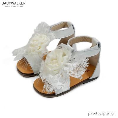 Δερμάτινα Εκρού Πέδιλα Διακοσμημένα με Λουλούδι Babywalker BW4635