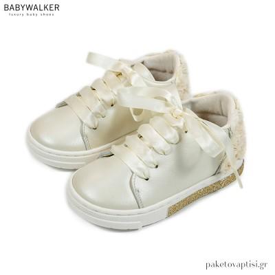Δερμάτινα Εκρού Sneakers με Chiffon Λουλούδια Babywalker BW4697