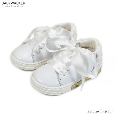 Δερμάτινα Λευκά Sneakers με Chiffon Λουλούδια Babywalker BW4697