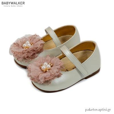Εκρού με Ροζ Γοβάκια με Λουλούδι Δαντέλα και Πέρλες Babywalker BW4723
