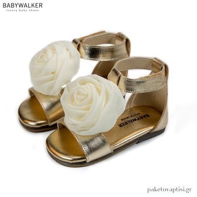 Χρυσό με Εκρού Πέδιλα με Χειροποίητο Chiffon Λουλούδι Babywalker BW4729