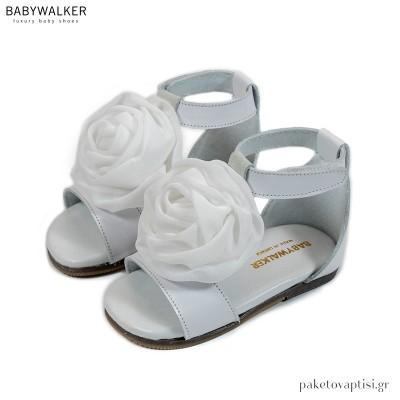 Δερμάτινα Πέδιλα με Χειροποίητο Chiffon Λουλούδι Babywalker BW4730