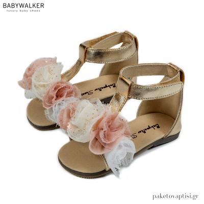 Δερμάτινα Πέδιλα με Χειροποίητα Τρίχρωμα Λουλούδια Babywalker BW4731