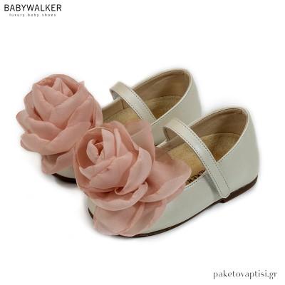 Δερμάτινα Γοβάκια με Χειροποίητο Chiffon Τριαντάφυλλο Babywalker BW4732