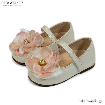 Δερμάτινα Γοβάκια με Chiffon Λουλούδι και Κρύσταλλο Swarovski Babywalker BW4733