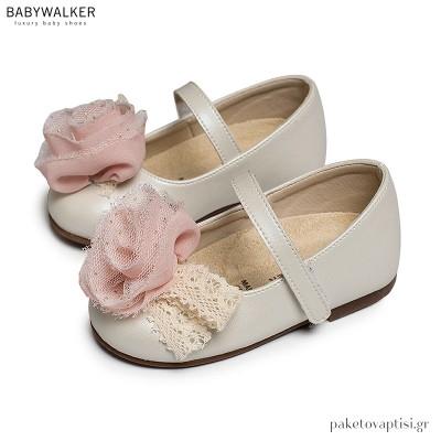 Γοβάκια με Μονή Μπαρέτα και Chiffon Λουλούδι Babywalker BS3552