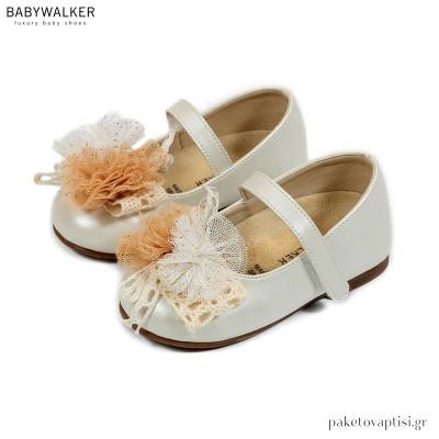 Γοβάκια με Μονή Μπαρέτα και Τούλινο Λουλούδι Babywalker BS3555