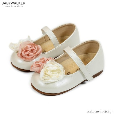 Γοβάκια με Μονή Μπαρέτα και Δίχρωμα Λουλούδια Babywalker BS3557