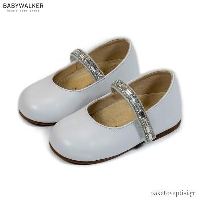 Λευκά Γοβάκια με Μπαρέτα από Strass και Κρύσταλλα Babywalker BS3558