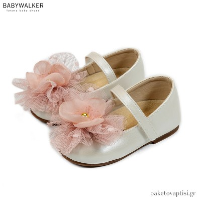 Εκρού με Ροζ Γοβάκια με Μονή Μπαρέτα και Λουλούδι από Οργάντζα και Τούλι Babywalker BS3560