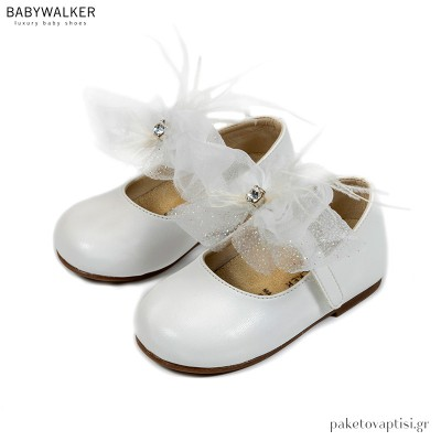 Λευκά Γοβάκια με Μονή Μπαρέτα Υφασμάτινο Φιόγκο και Μαραμπού Babywalker BS3562