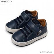 Μπλε Δερμάτινα Sneakers με Μπαρέτα Velcro Babywalker EXC5163