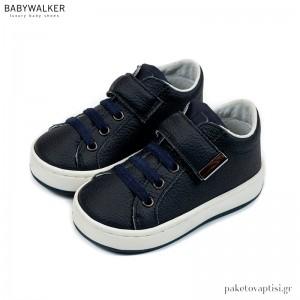 Μπλε Navy Δερμάτινα Sneakers με Μπαρέτα Velcro Babywalker EXC5163