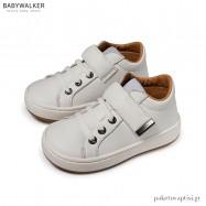 Λευκά Δερμάτινα Sneakers με Μπαρέτα Velcro Babywalker EXC5163