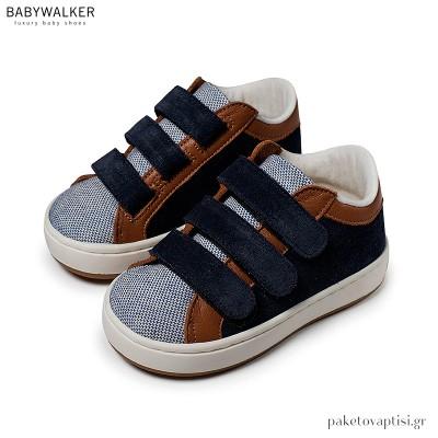 Μπλε με Ταμπά Sneakers με Τριπλό Velcro Babywalker EXC5174