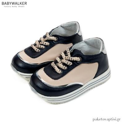 Μπεζ με Μπλε Δετά Sneakers Babywalker EXC5191