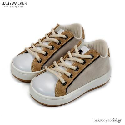 Εκρού με Λευκό και Μπεζ Δετά Sneakers Babywalker EXC5197