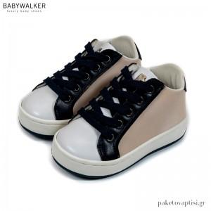 Εκρού με Λευκό και Μπλε Δετά Sneakers Babywalker EXC5197
