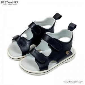 Μπλε Δερμάτινα Σανδάλια με Διπλό Velcro Babywalker EXC5202