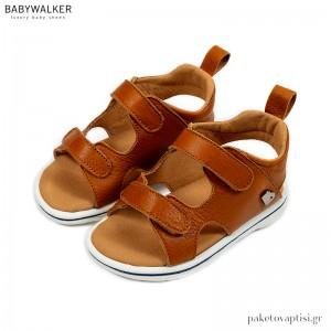 Ταμπά Δερμάτινα Σανδάλια με Διπλό Velcro Babywalker EXC5202