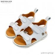 Λευκά Δερμάτινα Σανδάλια με Διπλό Velcro Babywalker EXC5202