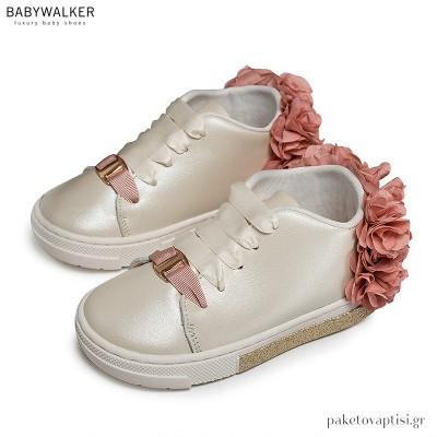 Εκρού με Ροζ Sneakers με Φτερά από Chiffon Λουλούδια Babywalker EXC5725