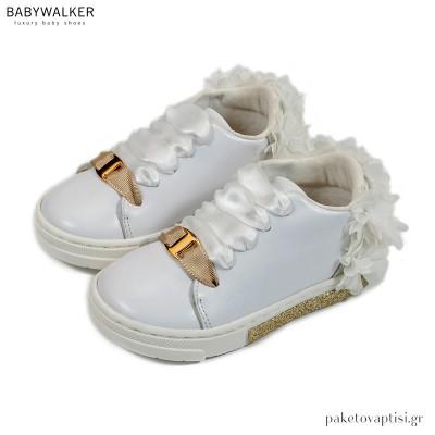 Λευκά Sneakers με Φτερά από Chiffon Λουλούδια Babywalker EXC5725