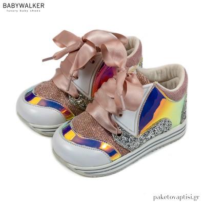 Δετά Sneakers από Ύφασμα και Δέρμα Babywalker EXC5756