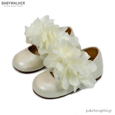 Εκρού Γοβάκια με Μονή Μπαρέτα από Chiffon Λουλούδια Babywalker EXC5765