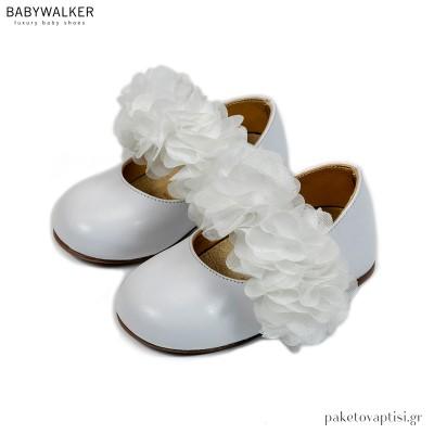 Λευκά Γοβάκια με Μονή Μπαρέτα από Chiffon Λουλούδια Babywalker EXC5765