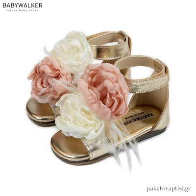 Δερμάτινα Πέδιλα με Χειροποίητα Δίχρωμα Chiffon Λουλούδια Babywalker EXC5770