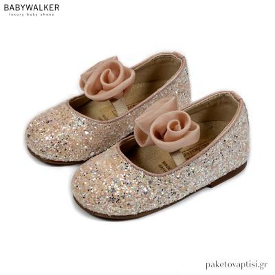 Γοβάκια από Glitter Ύφασμα με Χειροποίητα Chiffon Λουλούδια Babywalker EXC5774