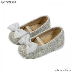 Γοβάκια από Glitter Ύφασμα με Φιόγκο Οργάντζα Babywalker EXC5775