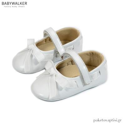 Δερμάτινα Λευκά Γοβάκια με Κορδέλα και Φιόγκο από Ταφτά Babywalker MI1505