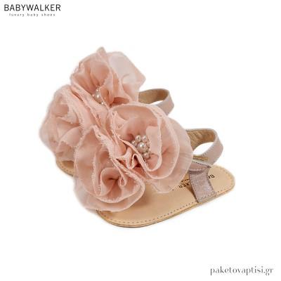 Δερμάτινα Ροζ Αντικέ Πέδιλα Αγκαλιάς με Chiffon Λουλούδια Babywalker MI1559