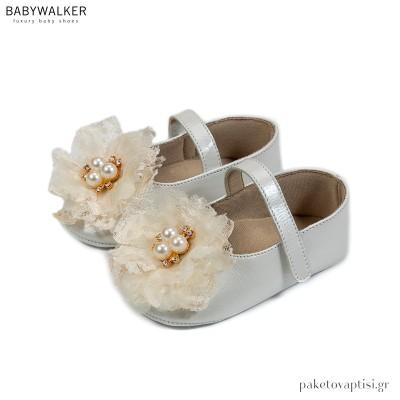 Δερμάτινα Εκρού Γοβάκια με Λουλούδι Δαντέλα και Πέρλες Babywalker MI1591