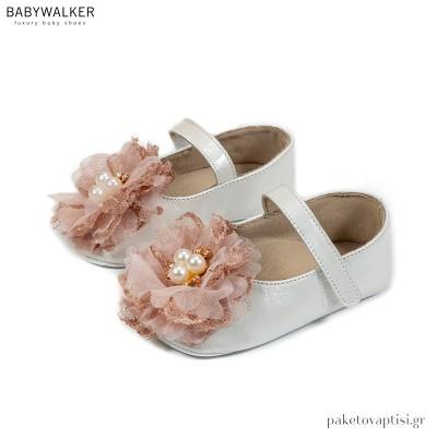 Δερμάτινα Εκρού με Ροζ Γοβάκια με Λουλούδι Δαντέλα και Πέρλες Babywalker MI1591