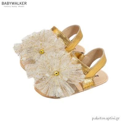 Δερμάτινα Χρυσό με Εκρού Πέδιλα με Τούλινα Πομ Πον Babywalker MI1593