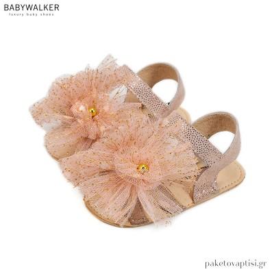Δερμάτινα Ροζ Αντικέ Πέδιλα με Τούλινα Πομ Πον Babywalker MI1593