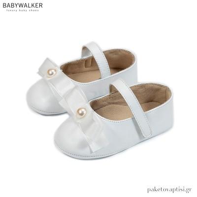 Δερμάτινα Λευκά Γοβάκια με Ταφταδένιο Φιόγκο Babywalker MI1594