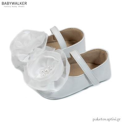 Δερμάτινα Λευκά Γοβάκια με Χειροποίητο Λουλούδι Οργάντζας Babywalker MI1596