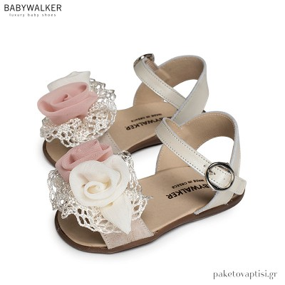 Πέδιλα με Λουλούδια και Δαντέλα Babywalker PRI2574