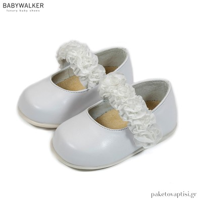 Λευκά Γοβάκια με Μονή Μπαρέτα και Φιόγκο Οργάντζα Babywalker PRI2580