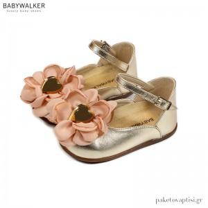 Γαλλικά Γοβάκια με Λουλούδι Οργάντζα και Χρυσή Καρδιά Babywalker PRI2584