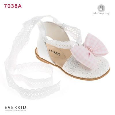 Παπουτσάκια Περπατήματος με Δαντέλα Μπροντερί και Φιόγκο Everkid 7038