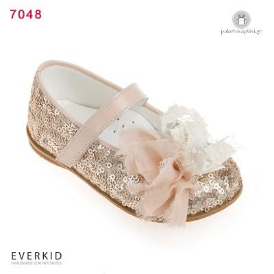 Παπουτσάκια Περπατήματος για Κορίτσια με Παγιέτες και Λουλούδι Everkid 7048